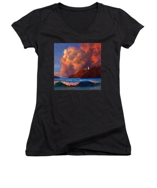 Kilauea Lighthouse - Hawaiian Cliffs Sunset Seascape And Clouds Women's V-Neck