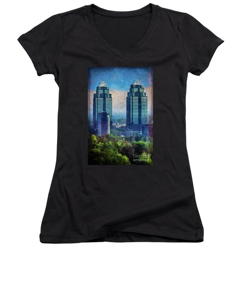 King And Queen Buildings Women's V-Neck (Athletic Fit)