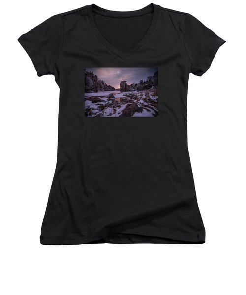 Women's V-Neck T-Shirt (Junior Cut) featuring the photograph King Of Frost by Aaron J Groen