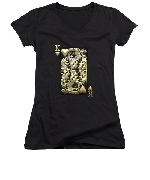 King Of Hearts In Gold On Black Women's V-Neck
