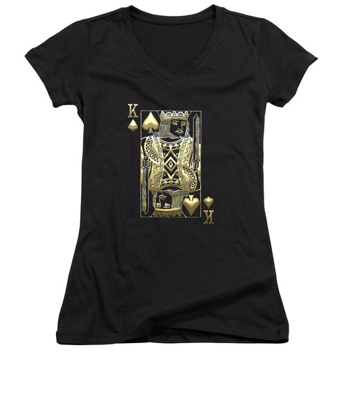 King Of Spades In Gold On Black   Women's V-Neck