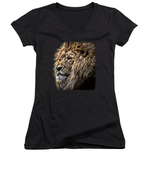 King Of The Jungle - Fractal Male Lion Women's V-Neck (Athletic Fit)