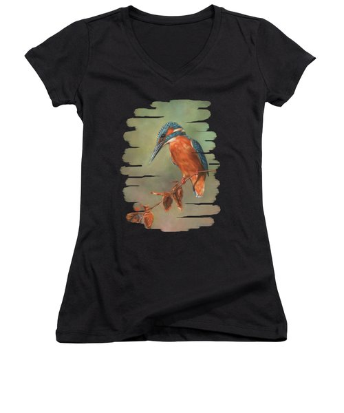 Kingfisher Perched Women's V-Neck (Athletic Fit)