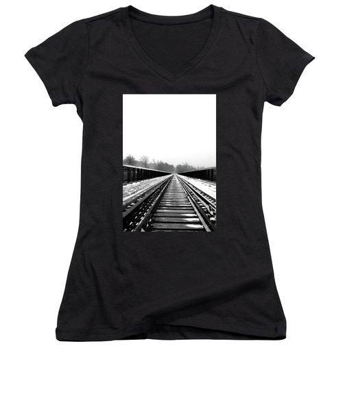 Kinzua Bridge Skywalk Women's V-Neck T-Shirt (Junior Cut) by Sharon Batdorf