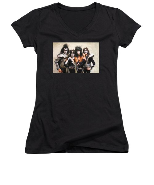 Kiss Band Women's V-Neck (Athletic Fit)