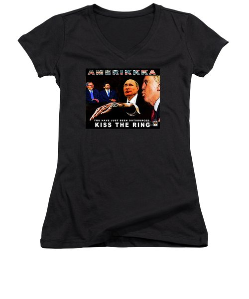 Kiss The Ring Women's V-Neck (Athletic Fit)