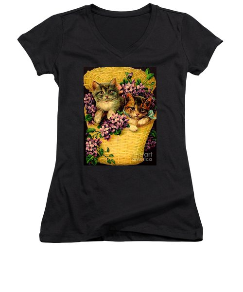 Kittens With Violets Victorian Print Women's V-Neck T-Shirt