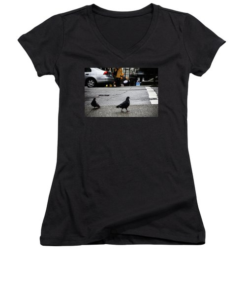Women's V-Neck T-Shirt (Junior Cut) featuring the photograph Knee High In Lust  by Empty Wall