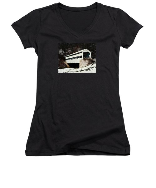 Knox Covered Bridge Historical Place Women's V-Neck T-Shirt (Junior Cut) by Sally Weigand