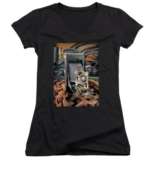 Women's V-Neck T-Shirt (Junior Cut) featuring the photograph Kodak No. 3a Autographic Camera by Martin Konopacki