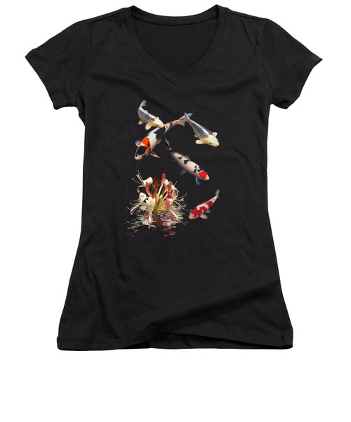 Koi With Honeysuckle Reflections Vertical Women's V-Neck (Athletic Fit)