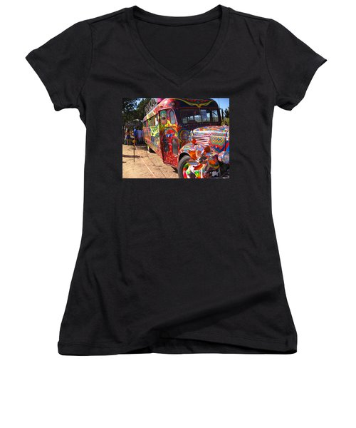 Kool Aid Acid Test Bus Women's V-Neck T-Shirt (Junior Cut) by Kym Backland