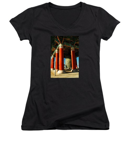 Women's V-Neck T-Shirt (Junior Cut) featuring the photograph Korean Peace Bell San Pedro by James Kirkikis