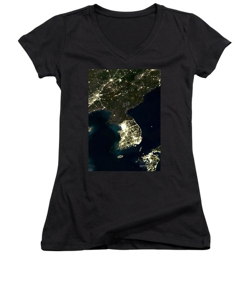 Korean Peninsula Women's V-Neck T-Shirt (Junior Cut)