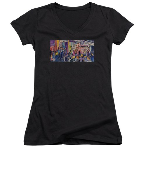 Women's V-Neck T-Shirt (Junior Cut) featuring the painting Kris Lager Band At The Goat by David Sockrider