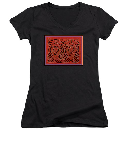 Kuna Indian Skate Fish Women's V-Neck T-Shirt (Junior Cut) by Vagabond Folk Art - Virginia Vivier