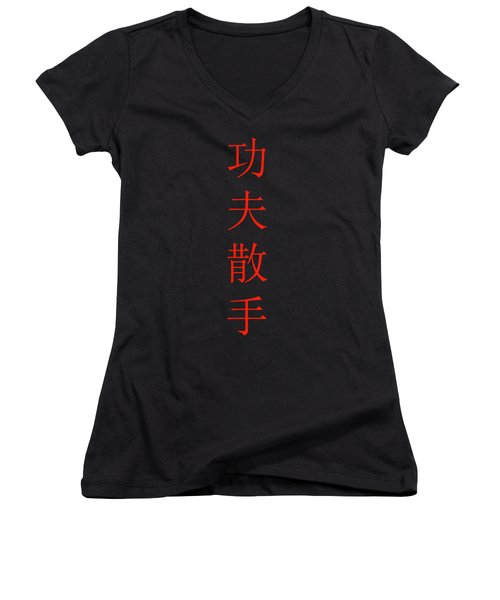 Kung Fu San Soo Red And Black Chinese Characters Women's V-Neck