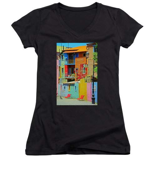 La Boca - Buenos Aires Women's V-Neck T-Shirt (Junior Cut) by Juergen Weiss