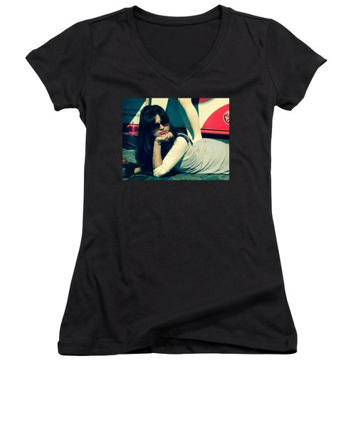 Women's V-Neck T-Shirt (Junior Cut) featuring the photograph La Dolce Vita  by Paul Lovering
