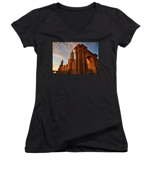 Women's V-Neck T-Shirt (Junior Cut) featuring the photograph La Hora Magia by Skip Hunt