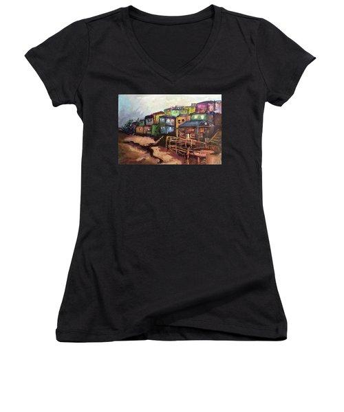 La Perla De Puerto Rico Women's V-Neck T-Shirt (Junior Cut) by Janet Garcia