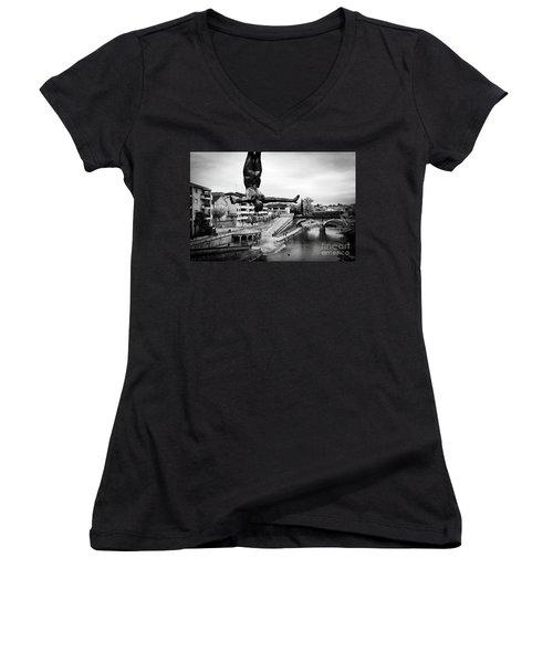 La Plongueuse Over The Midouze River Women's V-Neck T-Shirt (Junior Cut) by RicardMN Photography