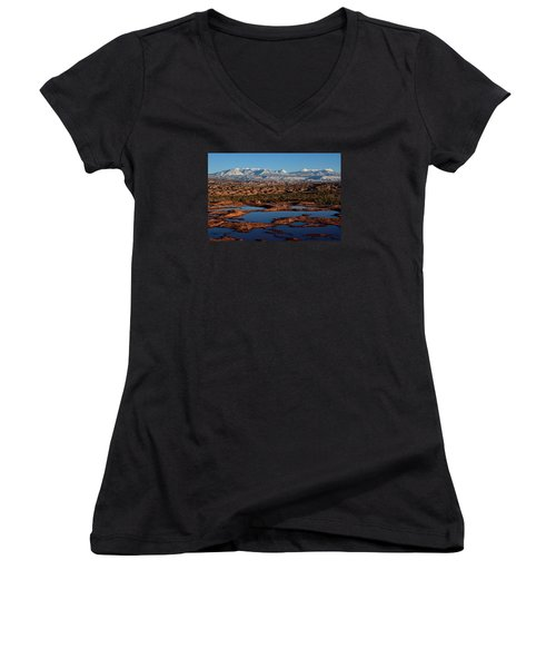 La Sal Mountains And Ephemeral Pools Women's V-Neck (Athletic Fit)