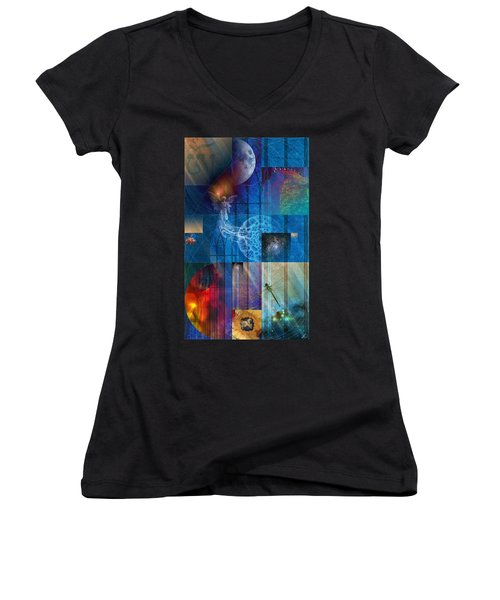 Women's V-Neck featuring the digital art La Signatura by Kenneth Armand Johnson