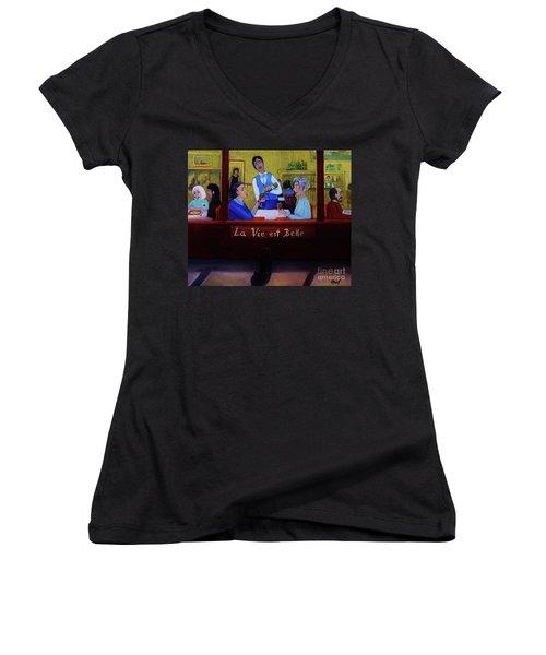 La Vie Est Belle Women's V-Neck T-Shirt (Junior Cut) by Reb Frost