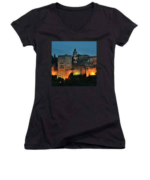 #laalhambra At Dusk - #ig_andalucia Women's V-Neck (Athletic Fit)