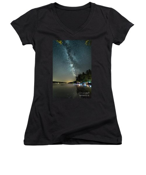 Labor Day Milky Way In Vacationland Women's V-Neck T-Shirt