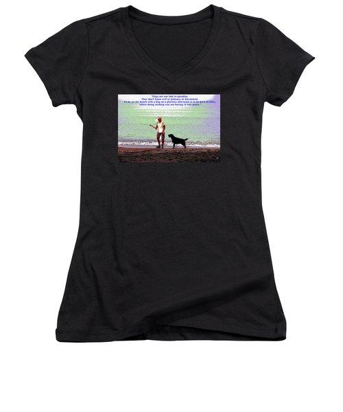 Labrador Retriever Women's V-Neck T-Shirt (Junior Cut) by Charles Shoup