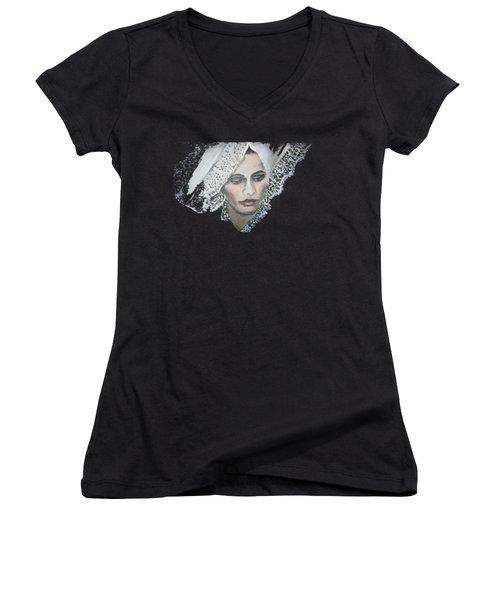 Lace Transparent Women's V-Neck T-Shirt
