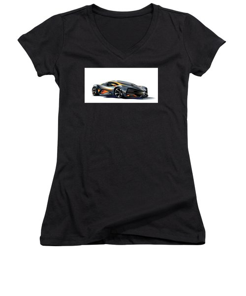 Women's V-Neck T-Shirt featuring the drawing Milan Red Vector Art by Brian Gibbs