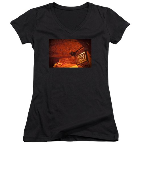 Ladies Parlor Sign Women's V-Neck T-Shirt (Junior Cut) by Carolyn Marshall