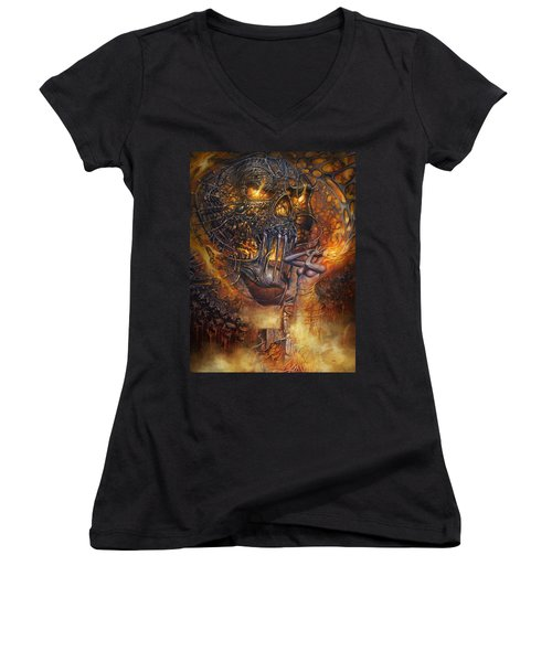 Lady And Skull Women's V-Neck (Athletic Fit)