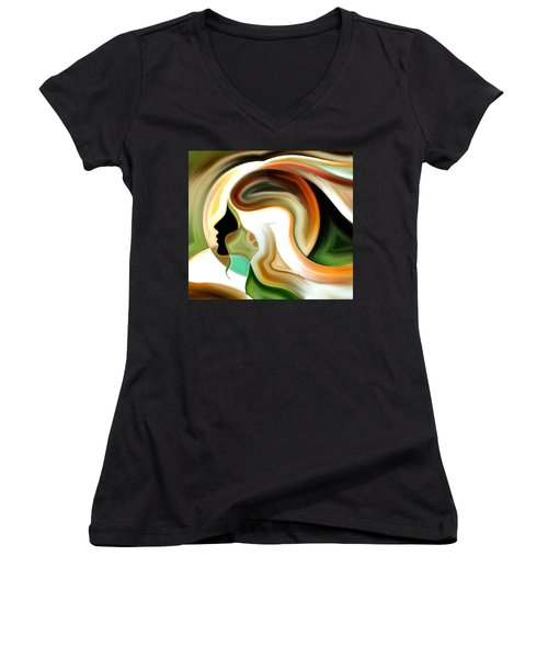 Women's V-Neck T-Shirt (Junior Cut) featuring the painting Lady Of Color by Karen Showell