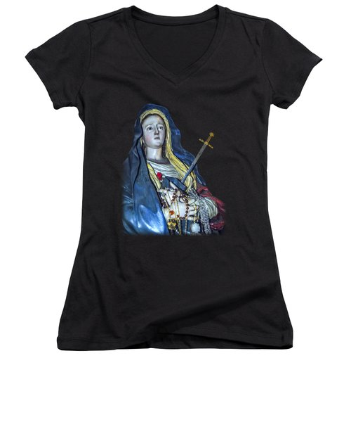 Lady Of Sorrows T-shirt Women's V-Neck (Athletic Fit)