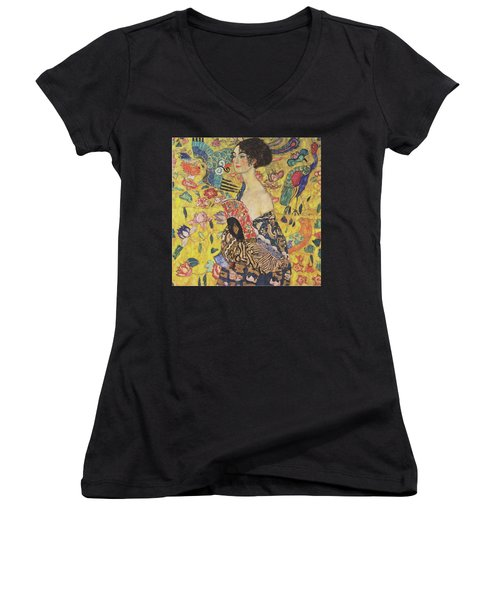 Lady With Fan Women's V-Neck (Athletic Fit)
