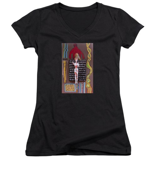 Lady's Mantle Herbal Tincture Women's V-Neck T-Shirt (Junior Cut) by Clarity Artists
