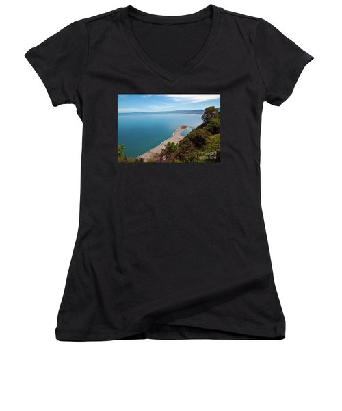 Lagoon Of Tindari On The Isle Of Sicily  Women's V-Neck