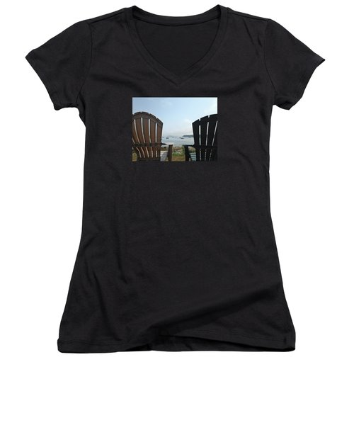 Laid Back Women's V-Neck T-Shirt (Junior Cut) by Olivier Calas