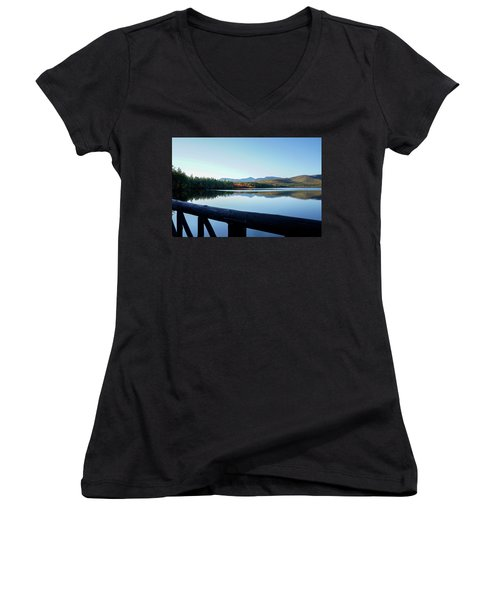 Women's V-Neck T-Shirt (Junior Cut) featuring the photograph Lake Chocorua Autumn by Nancy De Flon