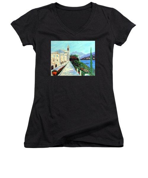 Lake Como Colors  Women's V-Neck T-Shirt (Junior Cut) by Larry Cirigliano