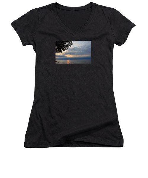 Lake Erie Sunset Women's V-Neck T-Shirt (Junior Cut) by Lena Wilhite