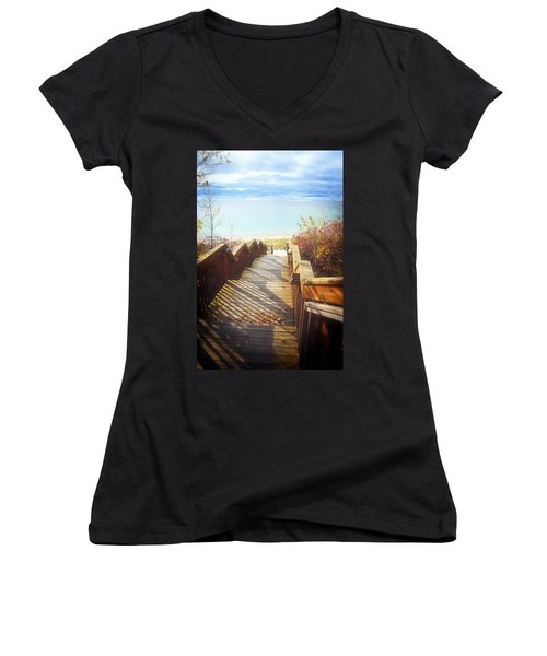 Women's V-Neck T-Shirt featuring the photograph Lake Michigan In The North by Michelle Calkins