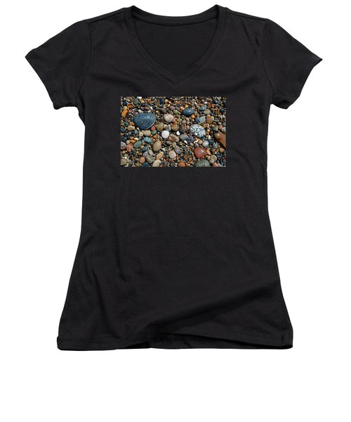 Women's V-Neck T-Shirt featuring the photograph Lake Michigan Stone Collection by Michelle Calkins