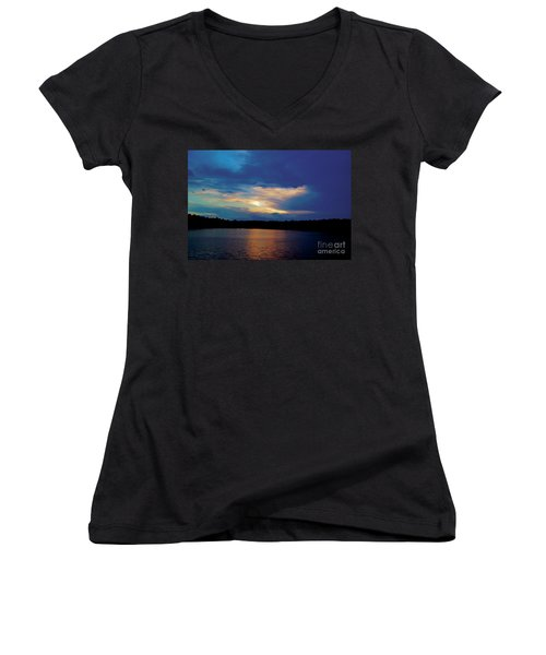Women's V-Neck T-Shirt (Junior Cut) featuring the painting Lake Sunset by Debra Crank