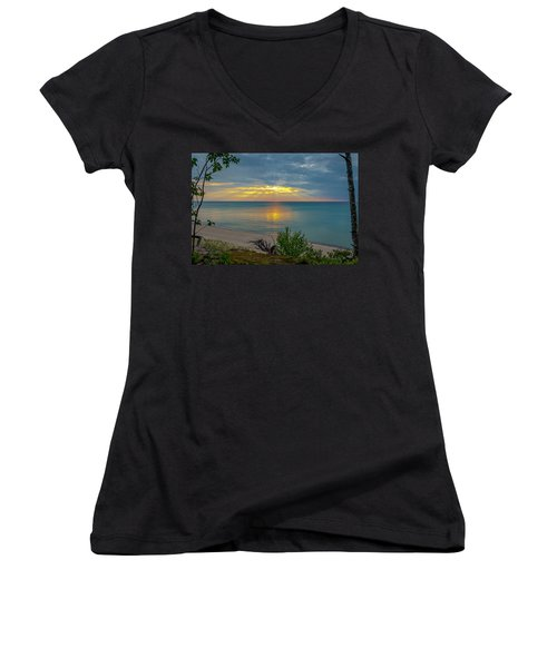 Lake Superior Sunset Women's V-Neck T-Shirt