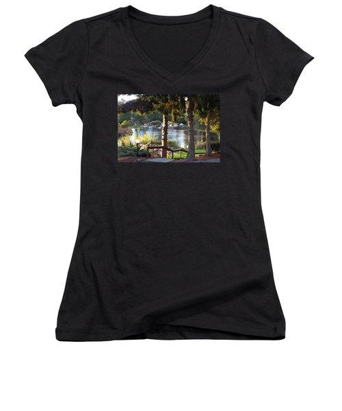 Beverly Lake View In Fall Women's V-Neck T-Shirt (Junior Cut) by Judyann Matthews